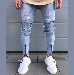 Men's Fashion Ripped Skinny Jeans Frayed Slim Fit Denim Pants Trousers