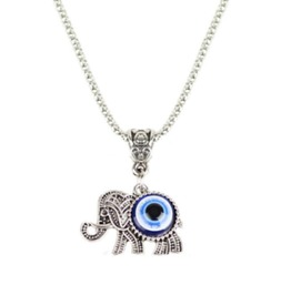 Awesome Blue Evil Eye Protection Necklace With Elephant Silver Colour Metal