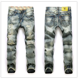 Mens Destroyed Ripped Jeans Slim Fit Straight Skinny Denim Trousers