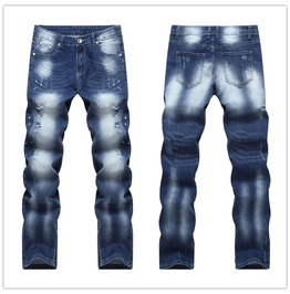 Fashion Men's Ripped Distressed Jeans Pants Light Wash Denim Straight Pants