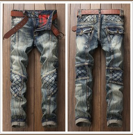 Men's Fashion Washed Denim Long Straight Pants