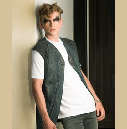 Distressed Industrial Mens Vest From Vintage Denim With Spikes