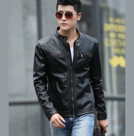 Punk Rock Motorcycle Biker Jacket Slim Pockets Zipper Pu Leather Jacket