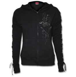 Entwined Laceup Full Zip Glitter Hoody Black