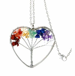 Awesome Chakra Gemstone Bead Wirewrap Heart Tree Life Pendant
