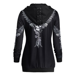 Lace Up Floral Print Hooded Sweaters