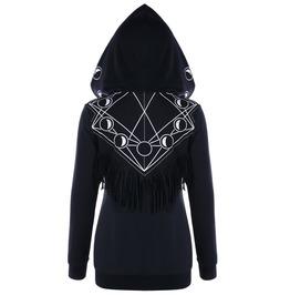 Long Sleeves Tassel Moon Print Hooded Sweaters