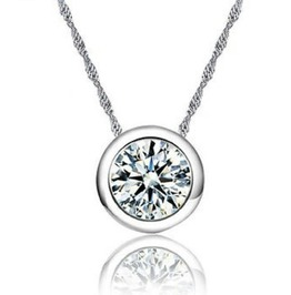 Enchanting Sterling Silver Zircon Crystal Pendant On Silver 925 Chain