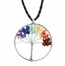 Awesome Chakra Gemstone Bead Wirewrap Circle Tree Life Pendant