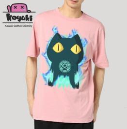 Devil Neko Cat Devil T Shirt Pink Gildan Ultra Unisex