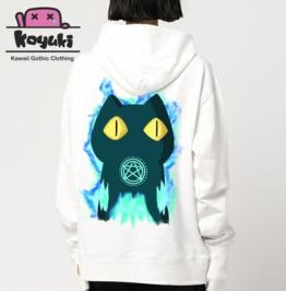 White Hoodie Harajuku Cat Devil Kawaii Cute Anime