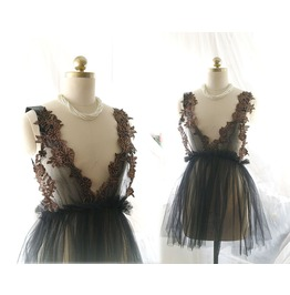 Lingerie Ddlg Clothing Black Tulle Brown Lace Tutu Dress Slip Fairy Kei