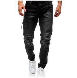 Mens Skinny Ripped Jeans Leather Biker Knees