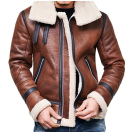 Brown Faux Leather Aviator Jacket
