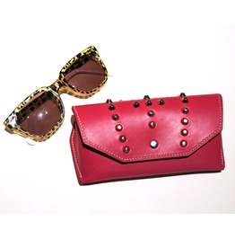 Pink Leather Sunglasses Case, Studded Sunglasses Protector