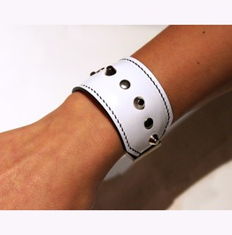 Women Leather Bracelet,Genuine Leather Bracelet,White Leather Bracelet