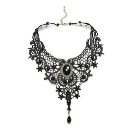 Gothic! Black Lace Design Choker Necklace With Oval Black Gem Design