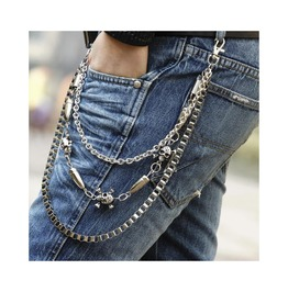 Three Layer Stainless Bullet Buckle Jeans Pants Waist Chain