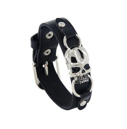 Punk Rock Gothic Skull Leather Men Bracelet