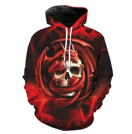 Red Dragon & Skull 3 D Pullover Hoodie