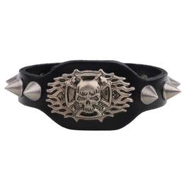 Punk Skull Rivet Leather Men Bracelet