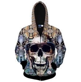 Glasses Skull 3 D Zipper Long Sleeve Men Hooded