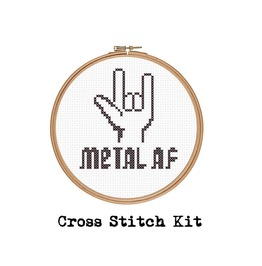Metal As Fuck. Counted Cross Stitch Kit. Includes Beginners Guide