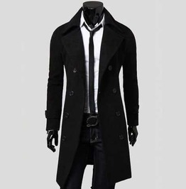 Men's Black Dressy Over Coat 3/4 Length Double Breasted Fall Winter Jacket