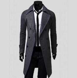 Men's Grey Dressy Over Coat 3/4 Length Double Breasted Fall Winter Jacket