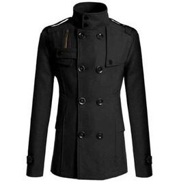 Men's Black Dressy Over Coat Formal Double Breasted Fall Winter Goth Jacket
