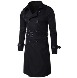 Men's Black Formal Double Breasted Fall Winter Vamp 3/4 Length Trench Coat