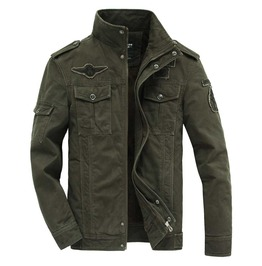 Men's Green Military Fall Winter Jacket Epaulettes Patches Faux Fur Lining
