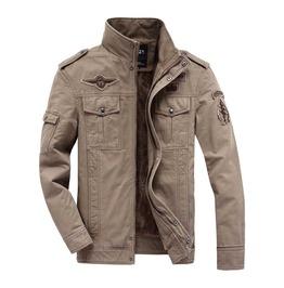 Men's Khaki Military Fall Winter Jacket Epaulettes Patches Faux Fur Lining