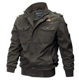 Men's Olive Green Military Spring Punk Street Jacket Epaulettes Patches
