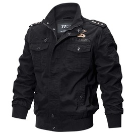 Men's Black Military Spring Punk Army Street Jacket Epaulettes Patches