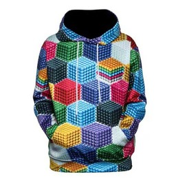 Men's Colourful Cubes Print Hooded Sweatshirt Geometric Hoodie $5 To Ship!