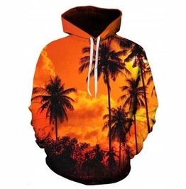 Men's Orange Hawaiian Sunset Print Hooded Sweatshirt Hoodie $5 To Ship!