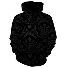 Men's Black Brocade Print Hooded Sweatshirt Artsy Hoodie $5 To Ship!