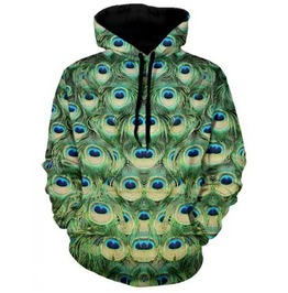 Men's Peacock Print Hooded Sweatshirt Artsy Hoodie $5 To Ship!