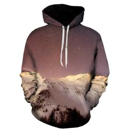 Men's Mountain Print Hooded Sweatshirt Snow & Stars Hoodie $5 To Ship!