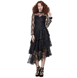 Black Mesh See Through Patchwork Layered Lace Gothic Dress