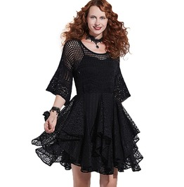 Black Lace Hollow Layered Retro Vintage Victorian Gothic Dress