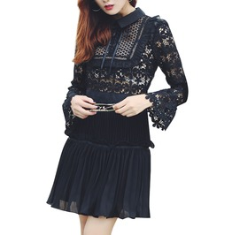 Lace Patchwork Flare Sleeve Slim Fitted Pleated Vintage Mini Dress