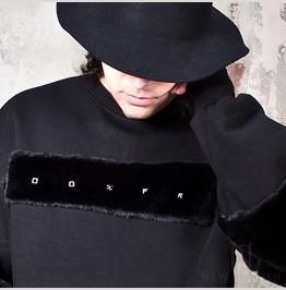 Extra Long Sleeves Lettering Fur Contrast Sweatshirts 201