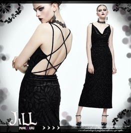 Goth Visual Pentagram Strap Feather Decal Scoop Neck Backless Dress Skt036