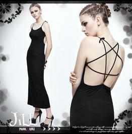 Punk Rock Dark Empire Pentagram Strap Backless Spaghetti Strap Dress Skt034