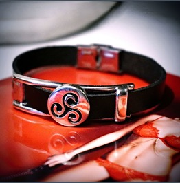 Mens Leather Bracelet Steampunk Bdsm Symbol Triskele Triskelion Man Jewelry