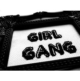 Girl Gang. Handmade Cross Stitch Wall Art. Home Deco. Wall Hanging.