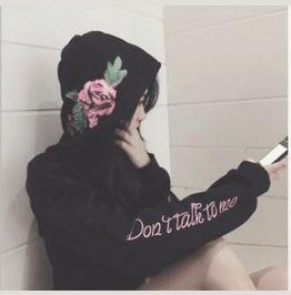 Harajuku Rose Do Not Talk To Me Black Women Long Sleeve Hoodie