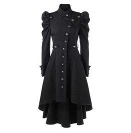Women's Black Puff Sleeved Victorian Gothic Trenchcoat Jacket $5 To Ship!